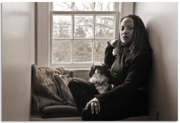 Portrait of Martha Jackson Jarviis and her dog Ming