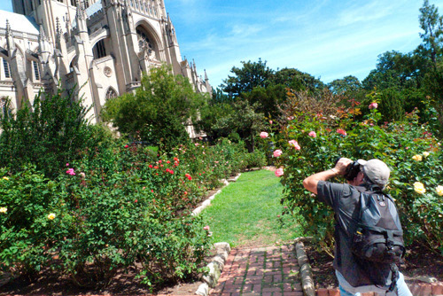Steve using the Cathedral as the background element