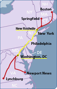 Amtrak Northeast Regional Map