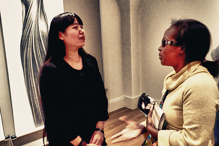Zhang Chun Hong, Artist with Terry deBardelaben at the National Portrait Gallery